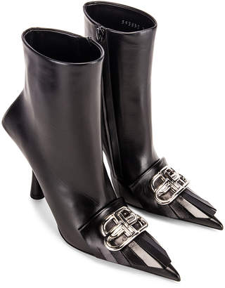 Balenciaga Fringe Knife Booties in Black & Silver | FWRD