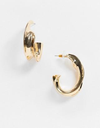 ASOS DESIGN hoop earrings in minimal twist in gold tone
