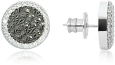 Rebecca R-Zero Rhodium Over Bronze Stud Earrings w/Stones