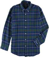 John Ashford Mens Flannel Plaid Button-Down Shirt Navy S