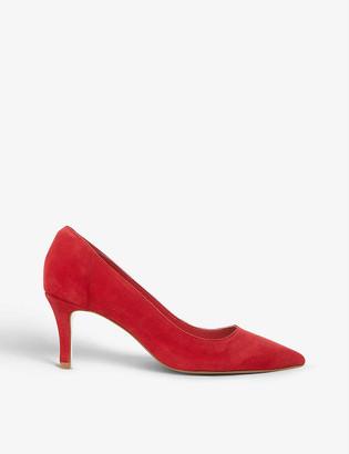 Dune Andina mid heel suede court shoes