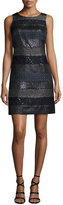 Kay Unger New York Mixed Media A-Line Jacquard Dress, Navy/Multi
