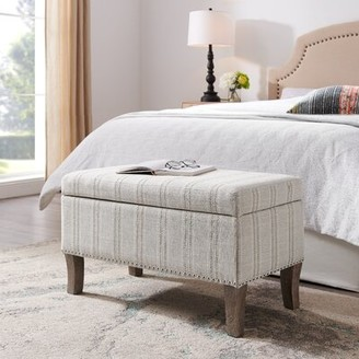 Winston Porter Pierro Upholstered Flip top Storage Bench Color/Pattern: Gray/ Striped