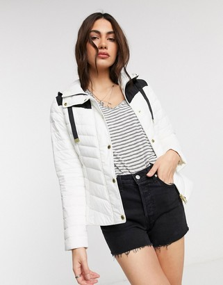 Barbour International Lightning slim quilt jacket in white