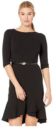 Calvin Klein 3/4 Sleeve Belted Dress with Ruffle Hem (Black) Women's Dress