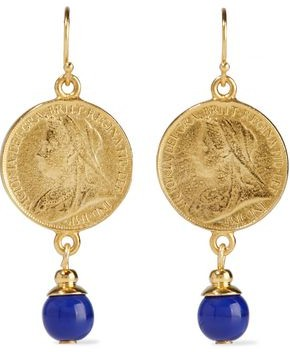 Ben-Amun 24-karat Gold-plated Lapis Lazuli Earrings
