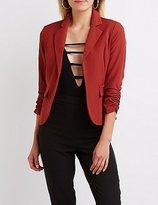 Charlotte Russe Ruched Sleeve Pocket Blazer