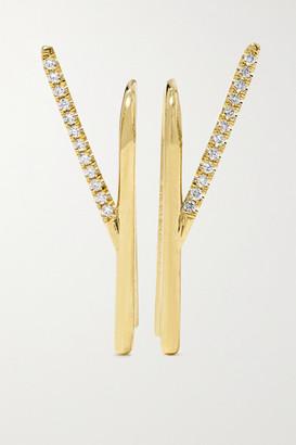 KatKim Wishbone 18-karat Gold Diamond Earrings - One size