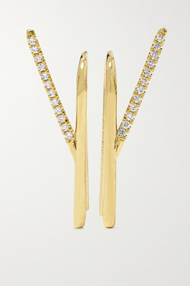 KatKim Wishbone 18-karat Gold Diamond Earrings