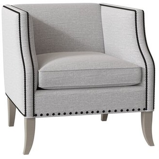 Bernhardt Romney Armchair Body Fabric: 1077-002, Leg Color: Blanca, Nailhead Detail: Antique Brass