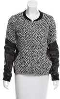 Thakoon Leather-Accented Tweed Jacket