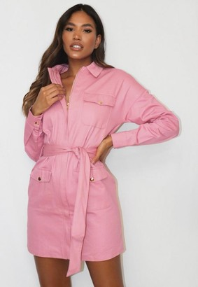 Missguided Blush Belted Utility Shirt Dress
