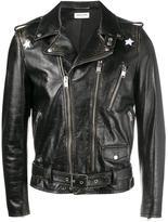 Saint Laurent distressed biker jacket - men - Cotton/Calf Leather/Cupro - 48