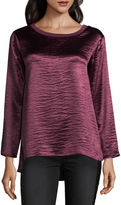 Libby Edelman Long Sleeve Hammered Satin Top
