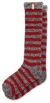 Hunter Striped Loop-Knit Knee Socks, Black/White/Lava Red/Mineral Blue