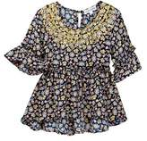 Ten Sixty Sherman Floral Puff Print Peplum Blouse (Big Girls)
