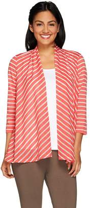 Susan Graver Weekend Striped Novely Knit 3/4 Sleeve Open Front Cardigan