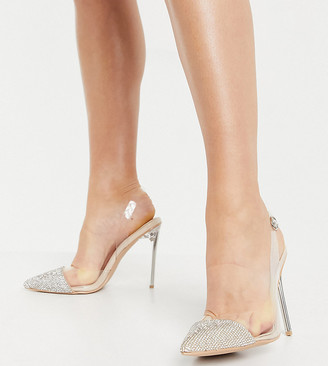 Be Mine Wide Fit Be Mine Bridal Wide Fit Rania high heeled shoes with embellished toes in clear