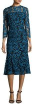 Shoshanna 3/4-Sleeve Lace Two-Tone Midi Dress, Blue/Black