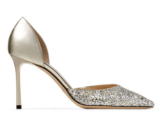 Jimmy Choo ESTHER 85 Champagne Coarse Glitter Fabric and Metallic Nappa Leather Pointed Pump