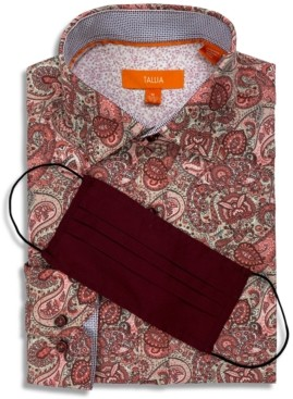 Tallia Receive a Free Face Mask with purchase of the Men's Slim-Fit Performance Stretch Paisley Print Dress Shirt