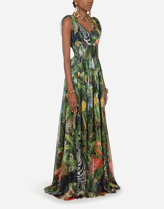 Dolce & Gabbana Long Georgette Dress With Jungle Print