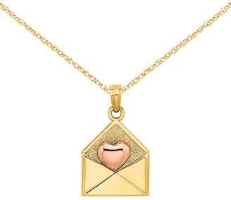 14K Two-tone 3-D XOXO Envelope Pink Heart Charm with 18-inch Cable Rope Chain by Versil
