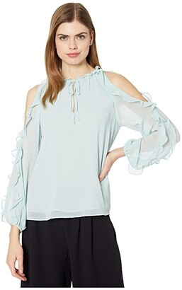 1 STATE Ruffle Sleeve Cold Shoulder Tie Neck Blouse (Dusty Mint) Women's Blouse