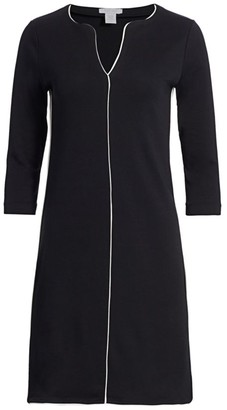 Joan Vass Petite Contrast-Trim Shift Dress