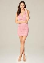 Bebe Lace & Mesh Deep V Dress