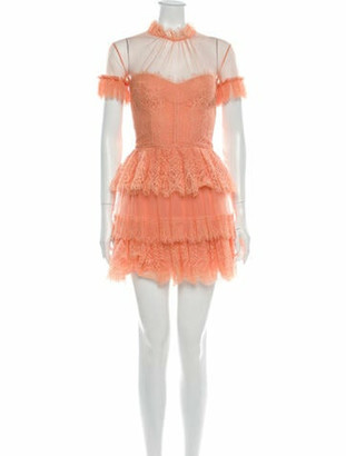 ZUHAIR MURAD Lace Pattern Mini Dress w/ Tags Orange