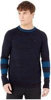 G Star G-Star Core Straight R Knit Long Sleeve (Sartho Blue/Dark Black) Men's Clothing