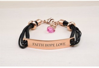 Pink Box Genuine Leather ID Bracelet with Crystals from Swarovski - FAITH HOPE LOVE