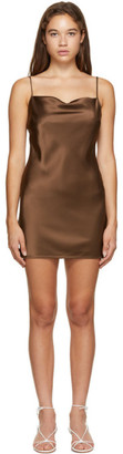 Nanushka Brown Satin Lotti Slip Dress