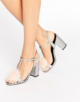 Office Sugar Pom Pom Silver Metallic Block Heeled Sandals