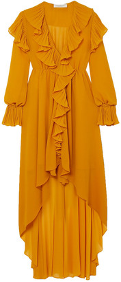 Philosophy di Lorenzo Serafini Asymmetric Ruffled Gauze Dress