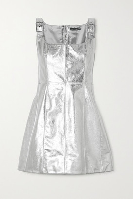 ALEXACHUNG Buckle-detailed Metallic Cracked-leather Mini Dress - Silver