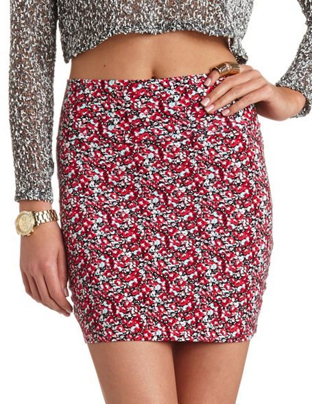 Charlotte Russe Floral Print Body-Con Mini Skirt