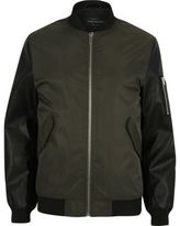 River Island Dark Green Contrast Sleeve Ma1 Bomber Jacket
