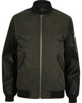 River Island MensDark green contrast sleeve MA1 bomber jacket