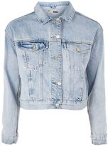 Topshop MOTO Fitted Cropped Bleach Denim Jacket