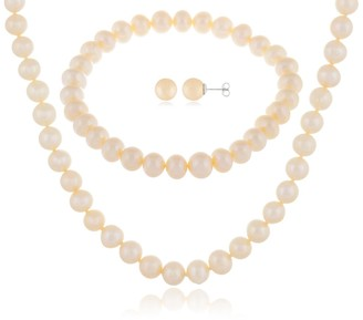 Splendid Pearls 7-8mm Natural White Cultured Freshwater Pearl 3-Piece Earring Necklace & Bracelet Set