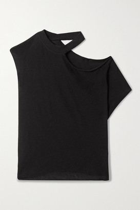 RtA Axel Cutout Cotton And Cashmere-blend Jersey Top - Black
