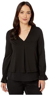 MICHAEL Michael Kors Long Sleeve Bell Inverted Pleat Top (Black) Women's Clothing