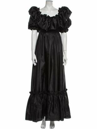 LoveShackFancy Square Neckline Long Dress Black