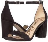 Sam Edelman Odila Ankle Strap Sandal Heel (Black Suede Leather) Women's Shoes