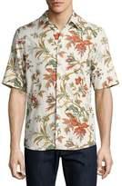 McQ Floral-Print Short-Sleeve Shirt, Off White