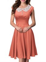 COSIVIA Women's 1950s O-Sleeve Colorful Cocktail Vintage Evening Wedding Dresses (M, )