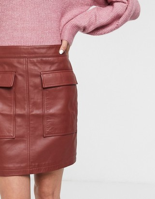 Selected leather mini skirt with pocket detail in red