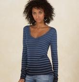 Gradual Stripe Long-Sleeve V-Neck Tee